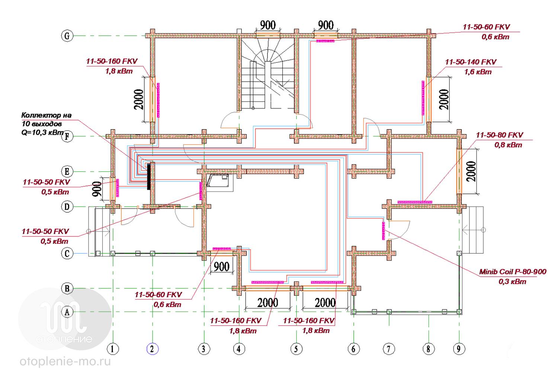 Схема разводки труб отопления дома фото
