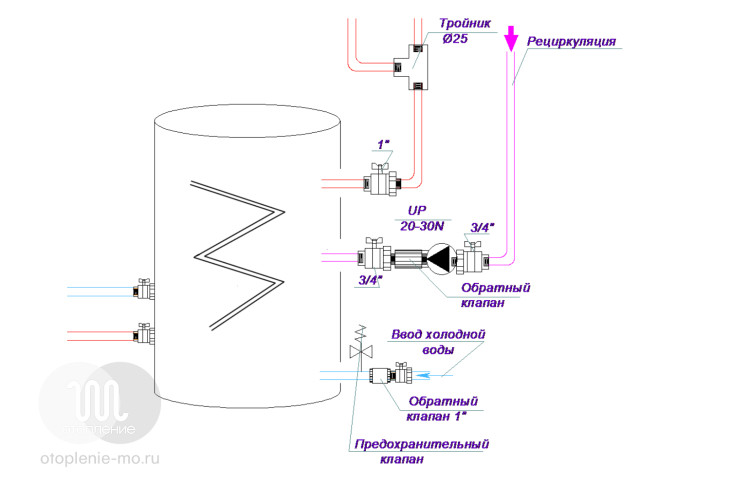 Схема подключения теплообменника