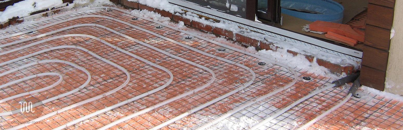 Монтаж системы снеготаяния фото